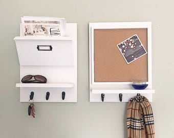 Command Center Set, Mail Organizer and Cork Board,  Entryway Organizer, Office Organizer, Office Decor, Entryway Decor,