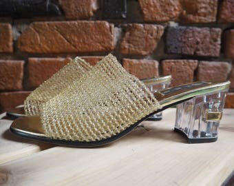 Women's 80s 90s Gold Mesh Heeled Mules Slip On Heels Shoes With See Through Plastic Heel Size US 10.5
