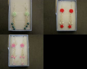 choice of flowers and pearls dangle earrings pair