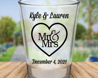 "Custom ""Mr. and Mrs."" Wedding Favor Shot Glasses"
