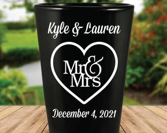 "Custom ""Mr. and Mrs."" Wedding Favor Black Shot Glasses"