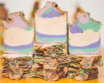Whipped soap, cold process soap, handmade soap, artisan soap, flower soap, lavender soap, purple soap, white soap, floating soap vegan soap