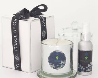Valentines Day Gift - Ayurvedic Candle and Massage Oil Wellness Hamper