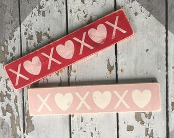 XOXOXO hugs and kisses vintage inspired distressed wooden sign (option to buy one or both)