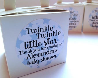 Custom baby shower stickers, baby shower favour stickers, twinkle twinkle little star baby shower, star baby shower stickers, 245 Blue