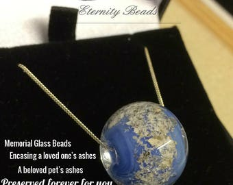 Ashes Glass Jewelry Bead Memorial Keepsake EternityBeads.co.uk - Cremation Ashes Encased in Lampwork Glass Silver Chain In Aid of UK Charity