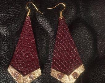 Beautiful snake skin earring with diamonds