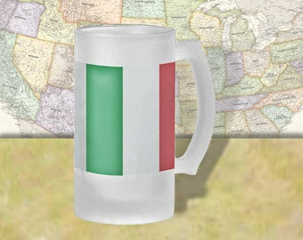 Italy Flag Beer Mug, Beer Stein, Country Flag, Country Pride, Beer Glass, 16 oz., Frosted Mug, Beer Thinkers, Beer Lovers, Cold Beer