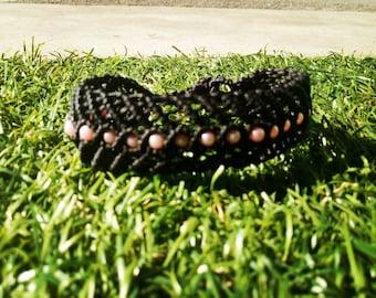 Black macrame bracelet Fischgretenoptik