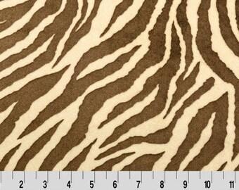 SALE! Zebra Cuddle Butter/Brown Minky, Shannon Minky Fabric, Zebra Cuddle Fabric, Zebra Minky Fabric, Brown Zebra Minky, Zebra Minky by Yard