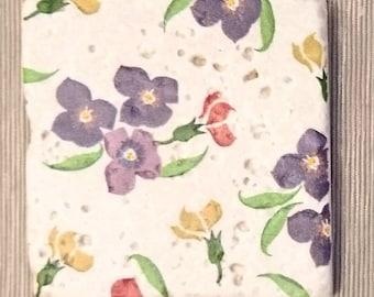Wallflower print decoupaged stone tile coasters