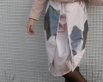 Handmade Pearl Pink skirt and silver panels