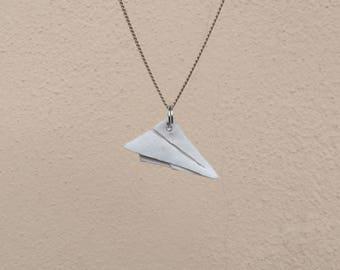Handmade necklace origami plane