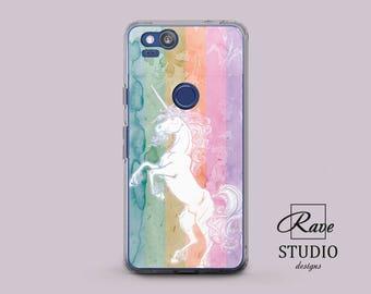 Unicorn case Pixel xl case Unicorn phone case Rainbow phone case Watercolor painting White unicorn Phone case cute Silicone phone case