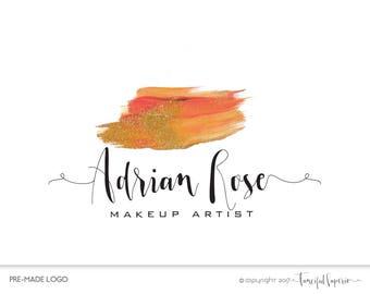 Makeup Brush Logo, Premade Makeup Logo Design, Makeup Artist Logo, Lipstick Logo, Watercolor Logo, Makeup Logo, Beautiy Logo, Makeup Salon