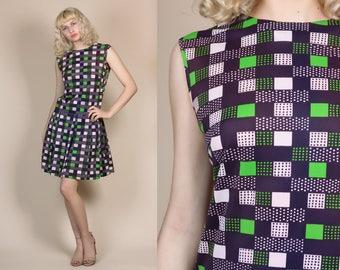70s Drop Waist Mini Dress - Large // Vintage Plaid Polka Dot Pleated Skirt Mod Minidress