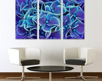 Blue Hydrangeas Flowers Canvas Print  Wall Art - 3 Panel Split, Triptych. Wall Decor, Home Decor, Living Room decoration, Interior design