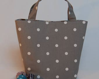 Gorgeous Handcrafted Grey Spotty Linen Tote