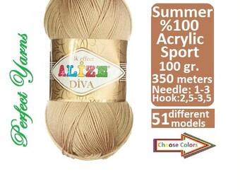 Alize yarn, Diva silk effect, Knitting yarn, crochet yarn, Summer Yarn, lace yarn, acrylic yarn, elastic yarn, bikini pattern, pattern