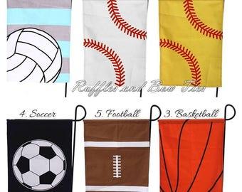 Personalized Sports Garden Flag - Volleyball, Baseball, Softball, Soccer, Football, Basketball - gifts under 20 - team spirit, coaches gift