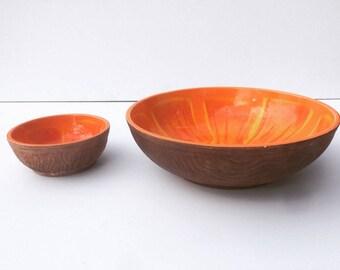 retro mid-century lava red/orange/yellow faux-bows ceramic serving bowls