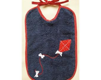 "Bib Navy Blue sponge pattern ""Kite"" red polka dots * 21 x 31 cm"