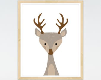 Deer Print, Animal Nursery printable prints, Woodland Nursery, Wall Art, Nursery Decor, Animal art, Forest Theme, Woodland Theme