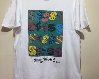 Vintage 1990 Andy Warhol Money Art Shirt Large