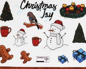 Decoration sticker set, Christmas joy - transparent - winter doodles