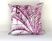 Magenta Botanical Leaf Print Cushion Cover