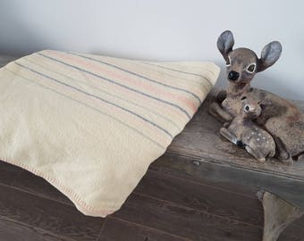 "Vintage Cream w/ Thin Blue & Pink Stripes Virgin Wool Blanket / 78"" x 84"" / Rustic Cabin Decor Bedroom or Living Room / Double Bed Blanket"