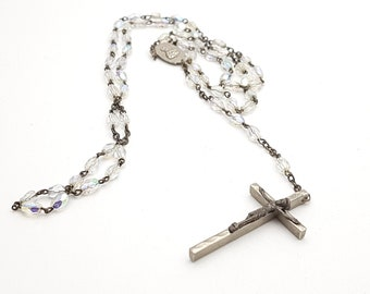 Vintage Thin Rosary Clear Iridescent Faceted Glass Beads Virgin Mary Jesus Metal Crucifix Cross Antique First communion Prayer Confirmation