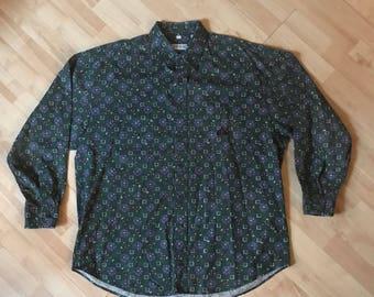Vintage 90s Izod Geometric Patterned Long Sleeve Button Up Shirt XL