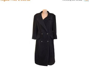 Vintage Styled by Yorn Paris long coat navy blue women wool mit cashmere