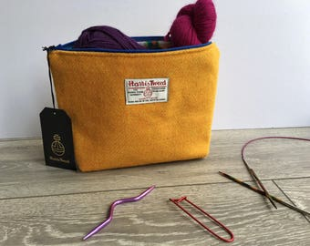 Harris Tweed bag Yellow, knitting project bag, wash bag, Scottish Bag, vanity bag, large make up bag, with garden gnome lining, cosmetic bag