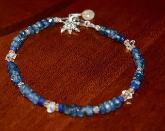 Kyanite, Lapis Lazuli, Citrine and Herkimer Diamond Quartz Bracelet~ High Grounding Energy Bracelet~ Gifts for Friends~