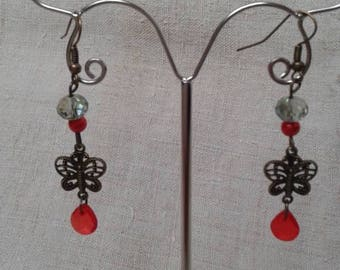 """red and White Butterfly"" earrings"