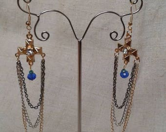 pearls and gold cross earrings