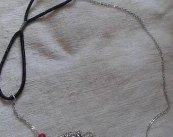 "headband ""red rhinestone cabochon and silver print"""