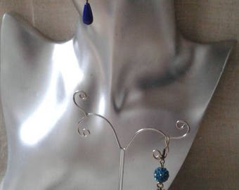 "Earrings ""leaf and beads blue"""