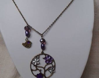 "bronze necklace ""bird and his tree flowers"""