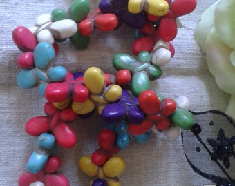 set of 6 multicolored butterflies, howlite beads