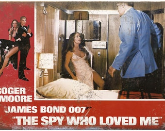 """James Bond, 007, The Spy Who Loved Me, Roger Moore 10"""" x 7"""" retro metal sign"""