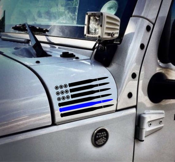 Jeep Bullet Thin Blue Line Flag Decal Wrangler Unlimited