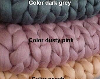 FREE SHIPPING!!! 100% merino wool blanket Chunky wool blanket  wool blanket Arm knit blanket Super chunky blanket Chunky knit blanktet