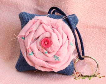 Keychain square with a large flower in the Middle, handmade, denim