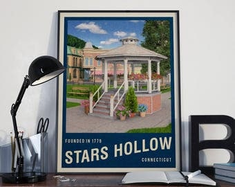 Stars Hollow Travel Poster, Gilmore Girls (Blue version)