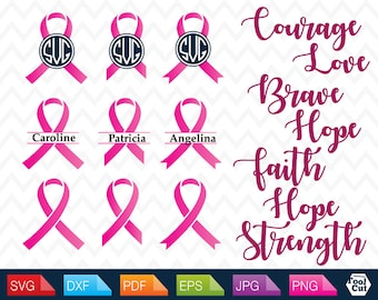 Breast Cancer SVG Awareness Ribbon Svg Pink Ribbon Frame Svg Breast Cancer Monogram Cut Files for Cutting Machines Cricut Silhouette Svg Dxf