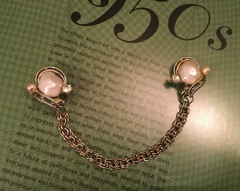 Classic vintage goldtone and faux pearl sweater clips with rhinestones (A245)