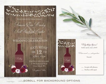 Vineyard Wedding Invitations Suite Wine Wedding Invitations Rustic Burgundy  Wine Marsala Printed Or DIY Printable Kit